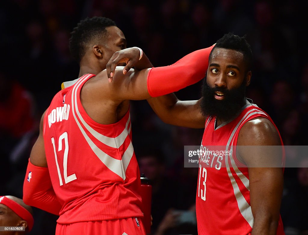 <a gi-track='captionPersonalityLinkClicked' href=/galleries/search?phrase=James+Harden&family=editorial&specificpeople=4215938 ng-click='$event.stopPropagation()'>James Harden</a> #13 and <a gi-track='captionPersonalityLinkClicked' href=/galleries/search?phrase=Dwight+Howard&family=editorial&specificpeople=201570 ng-click='$event.stopPropagation()'>Dwight Howard</a> #12 of the Houston Rockets celebrate a 107-87 win over the Los Angeles Lakers at Staples Center on December 17, 2015 in Los Angeles, California.