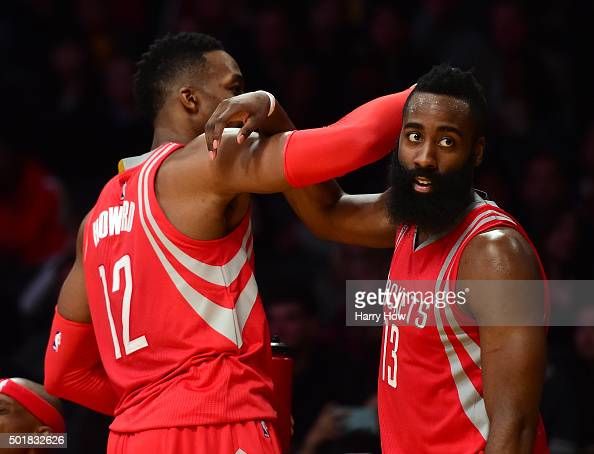 James Harden and Dwight Howard of the Houston Rockets celebrate a 10787 win over the Los Angeles Lakers at Staples Center on December 17 2015 in Los...