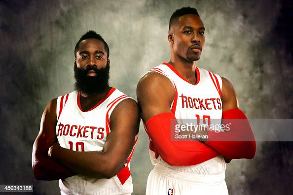 James Harden and Dwight Howard of the Houston Rockets pose during the Rockets Media Day at the Toyota Center on September 29 2014 in Houston Texas