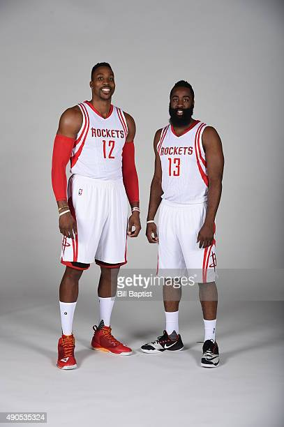 James Harden and Dwight Howard of the Houston Rockets poses for a photo during NBA Media Day at the Toyota Center on September 28 2015 in Houston...
