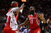 James Harden and Jason Terry of the Houston Rockets celebrates a play during a game against the Miami Heat at American Airlines Arena on November 4...