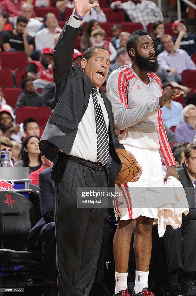 James Harden #13 and Kelvin Sampson Interim Head Coach of the Houston Rockets react to a play against the Chicago Bulls on November 21, 2012 at the Toyota Center in Houston, Texas.
