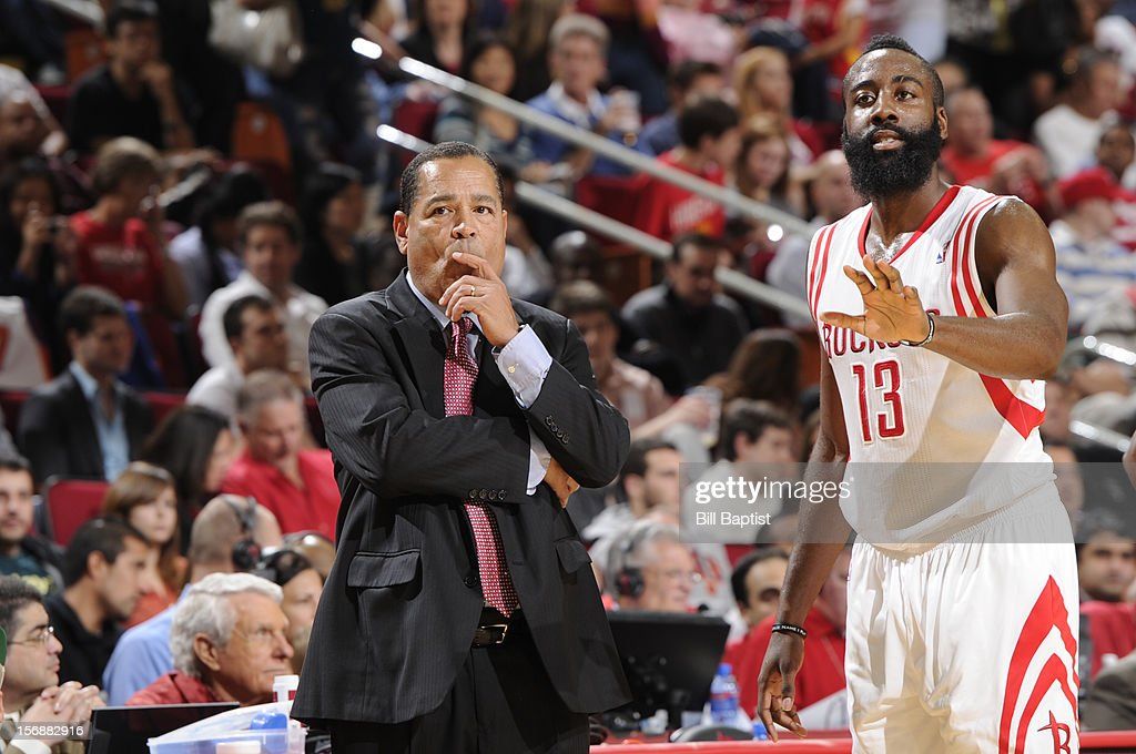 James Harden #13 and Kelvin Sampson Interim Head Coach of the Houston Rockets react to a play against the New York Knicks on November 23, 2012 at the Toyota Center in Houston, Texas.