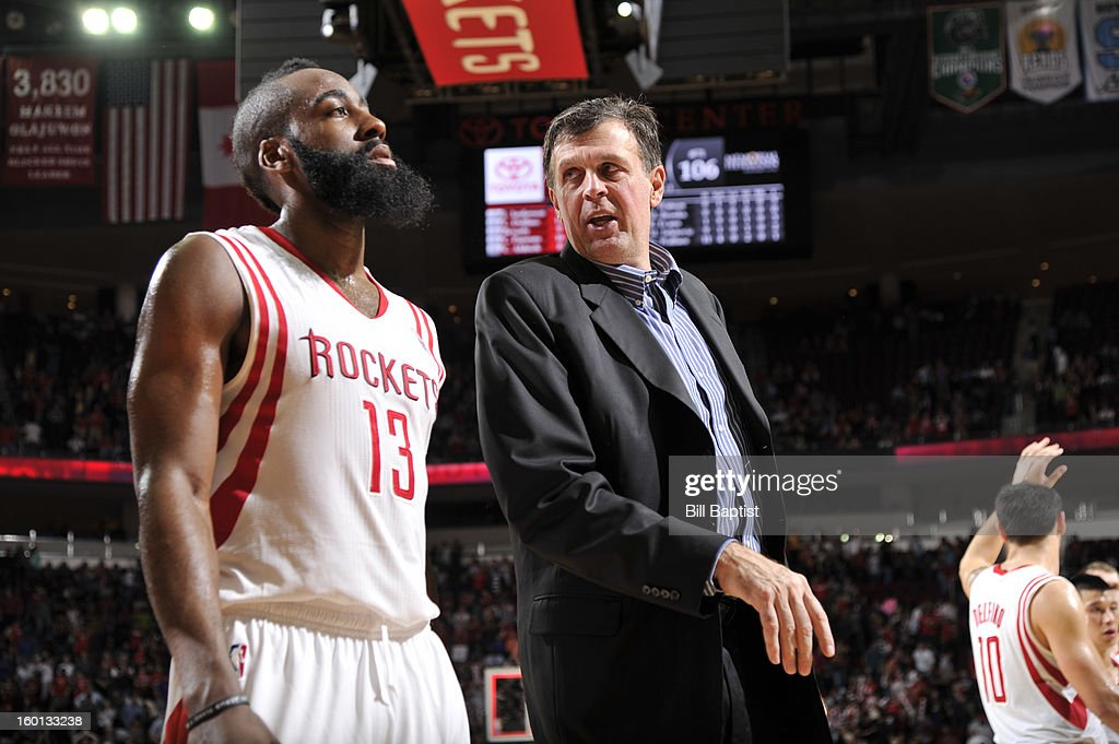 James Harden #13 and Kevin McHale, Head Coach, of the Houston Rockets talk after the game against the Brooklyn Nets on January 26, 2013 at the Toyota Center in Houston, Texas.