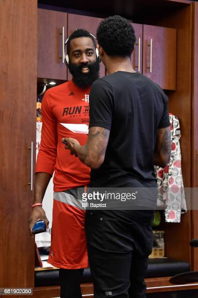 James Harden and Lou Williams of the Houston Rockets talk in the locker room before Game Three of the Western Conference Semifinals against the San...