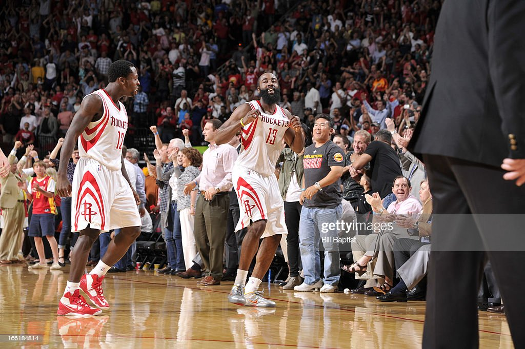 <a gi-track='captionPersonalityLinkClicked' href=/galleries/search?phrase=James+Harden&family=editorial&specificpeople=4215938 ng-click='$event.stopPropagation()'>James Harden</a> #13 and Patrick Beverley #12 of the Houston Rockets celebrate the win against the Phoenix Suns on April 9, 2013 at the Toyota Center in Houston, Texas.