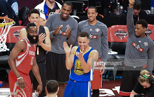 James Harden Devin Booker and Stephen Curry attend the 2016 NBA AllStar Saturday Night at Air Canada Centre on February 13 2016 in Toronto Canada