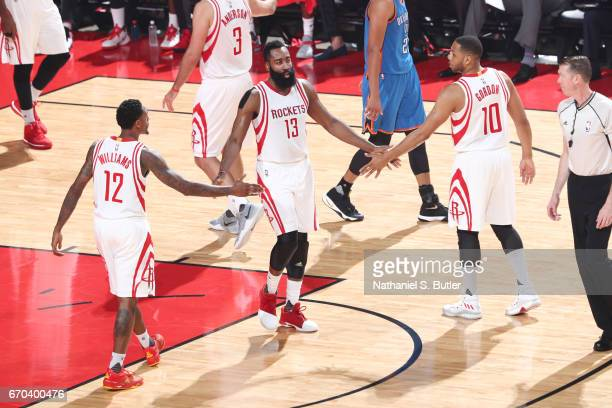 James Harden Eric Gordon and Louis Williams of the Houston Rockets celebrate during Game Two of the Western Conference Quarterfinals of the 2017 NBA...