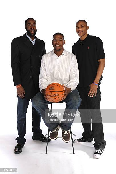 James Harden Kevin Durant and Russell Westbrook of the Oklahoma City Thunder pose for a portrait during the 2010 NBAE Circuit as part of the 2010 NBA...