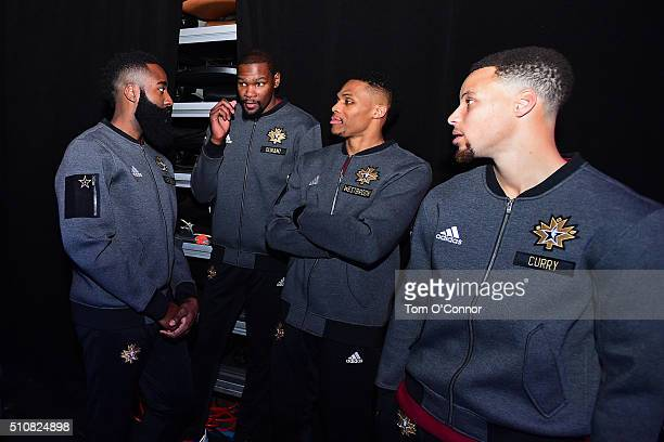 James Harden Kevin Durant Russell Westbrook and Stephen Curry of the Western Conference get ready to be announced before the NBA AllStar Game as part...