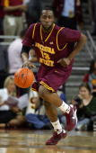 James Harden of Arizona State dribbles the ball upcourt against USC in the first half during the game at Galen Center on January 15 2009 in Los...