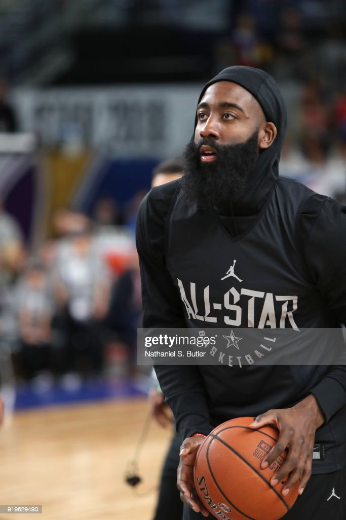 James Harden #13 of Team Stephen participates in the NBA All-Star practice as part of the 2018 NBA All-Star Weekend on February 17, 2018 at the Verizon Up Arena at the LACC in Los Angeles, California.