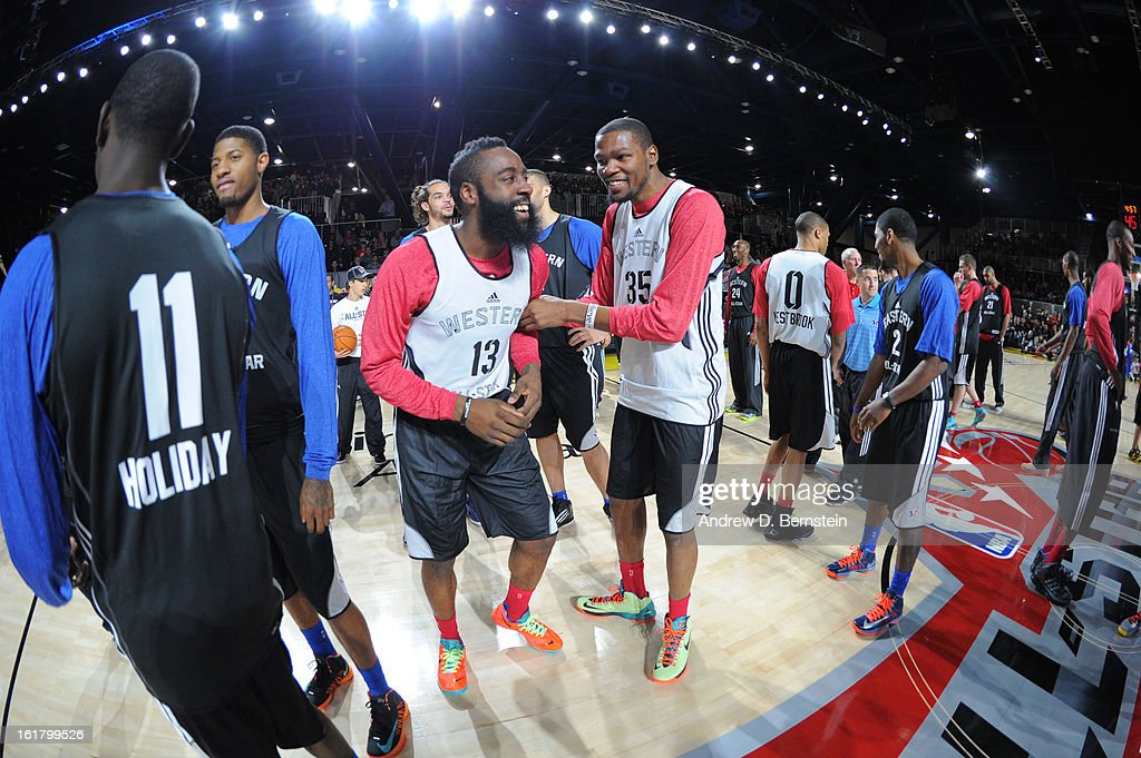 James Harden #13 of the Houston Rockets and Kevin Durant #35 of the Oklahoma City Thunder laugh during the NBA All-Star Practice in Sprint Arena at Jam Session at Jam Session during NBA All Star Weekend on February 16, 2013 at the George R. Brown Convention Center in Houston, Texas.