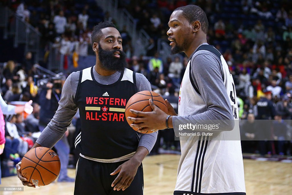 <a gi-track='captionPersonalityLinkClicked' href=/galleries/search?phrase=James+Harden&family=editorial&specificpeople=4215938 ng-click='$event.stopPropagation()'>James Harden</a> #13 of the Houston Rockets and <a gi-track='captionPersonalityLinkClicked' href=/galleries/search?phrase=Kevin+Durant&family=editorial&specificpeople=3847329 ng-click='$event.stopPropagation()'>Kevin Durant</a> #35 of the Oklahoma City Thunder talk during the NBA All-Star Practice as part of 2016 All-Star Weekend at the Ricoh Coliseum on February 13, 2016 in Toronto, Ontario, Canada.