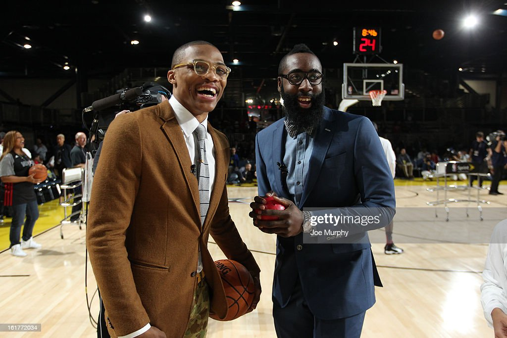 James Harden of the Houston Rockets and Russell Westbrook of the Oklahoma City Thunder pose during the Sprint Celebrity Game at Jam Session during NBA All Star Weekend on February 15, 2013 at the George R. Brown in Houston, Texas.