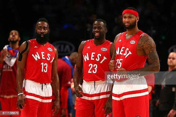 James Harden of the Houston Rockets and the Western Conference Draymond Green of the Golden State Warriors and the Western Conference and DeMarcus...