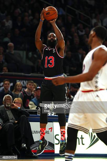 James Harden of the Houston Rockets and the Western Conference shoots the ball during the 2015 NBA AllStar Game at Madison Square Garden on February...