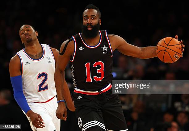 James Harden of the Houston Rockets and the Western Conference dribbles the ball during the 2015 NBA AllStar Game at Madison Square Garden on...