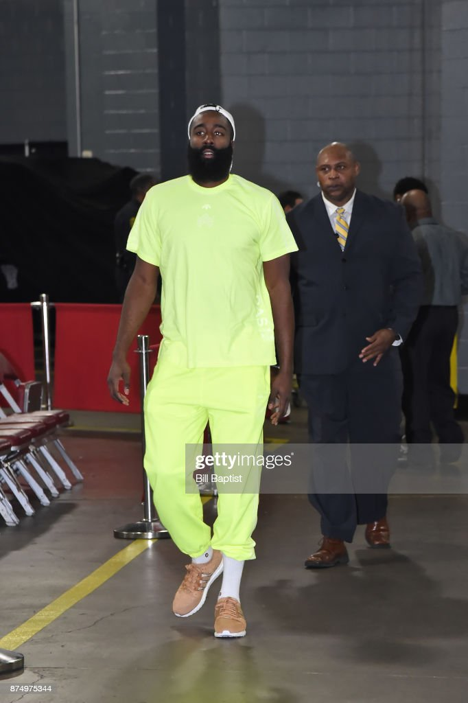 James Harden #13 of the Houston Rockets arrives at the arena before the game against the Toronto Raptors on November 14, 2017 at the Toyota Center in Houston, Texas.