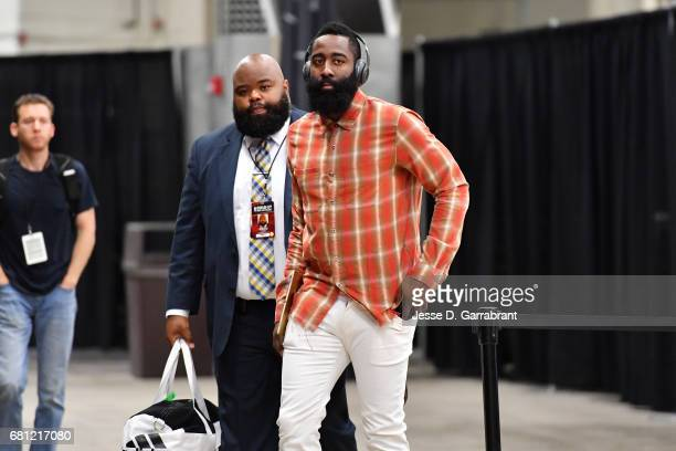 James Harden of the Houston Rockets arrives to the arena before the game against the San Antonio Spurs during Game Five of the Western Conference...