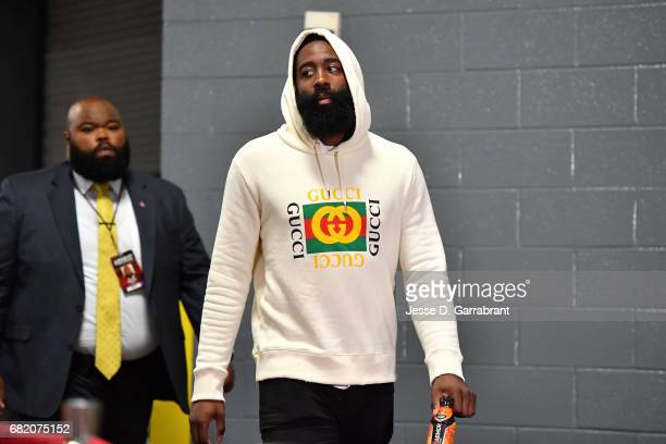 James Harden of the Houston Rockets arrives to the arena before the game against the San Antonio Spurs during Game Six of the Western Conference...