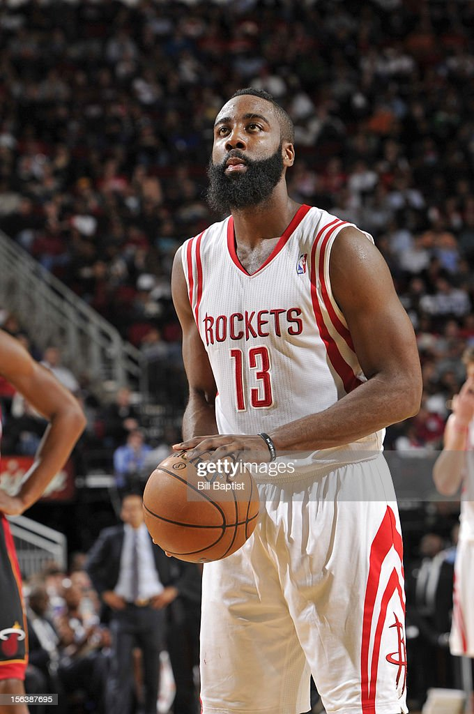 James Harden #13 of the Houston Rockets attempts a foul shot against the Miami Heat on November 12, 2012 at the Toyota Center in Houston, Texas.