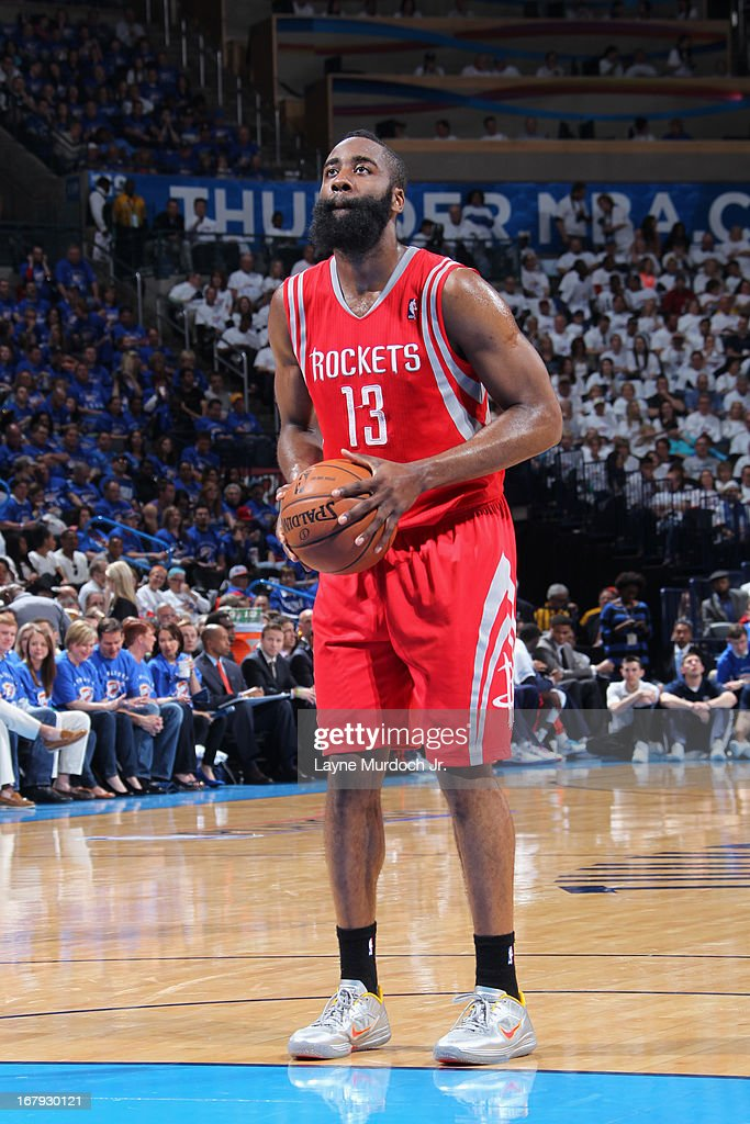 <a gi-track='captionPersonalityLinkClicked' href=/galleries/search?phrase=James+Harden&family=editorial&specificpeople=4215938 ng-click='$event.stopPropagation()'>James Harden</a> #13 of the Houston Rockets attempts a foul shot during the game against the Oklahoma City Thunder in Game Two of the Western Conference Quarter Finals during the 2013 NBA playoffs on April 24, 2013 at the Chesapeake Energy Arena in Oklahoma City, Oklahoma.