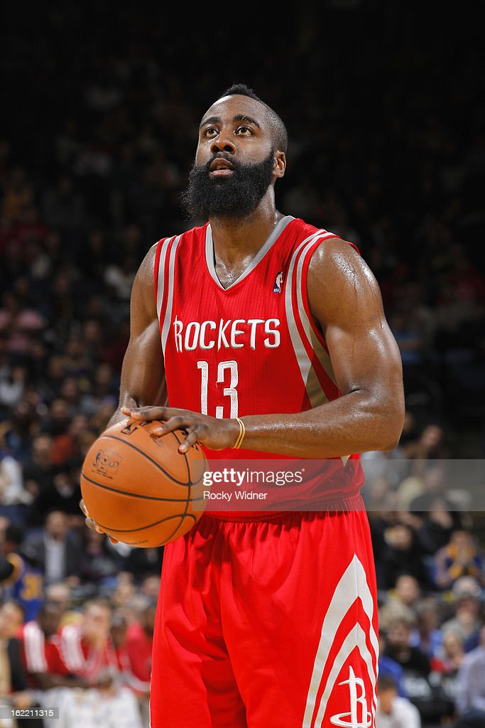 <a gi-track='captionPersonalityLinkClicked' href=/galleries/search?phrase=James+Harden&family=editorial&specificpeople=4215938 ng-click='$event.stopPropagation()'>James Harden</a> #13 of the Houston Rockets attempts a free throw shot against the Golden State Warriors on February 12, 2013 at Oracle Arena in Oakland, California.
