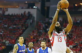 James Harden of the Houston Rockets battles takes a free throw against the Los Angeles Clippers during Game Two in the Western Conference Semifinals...