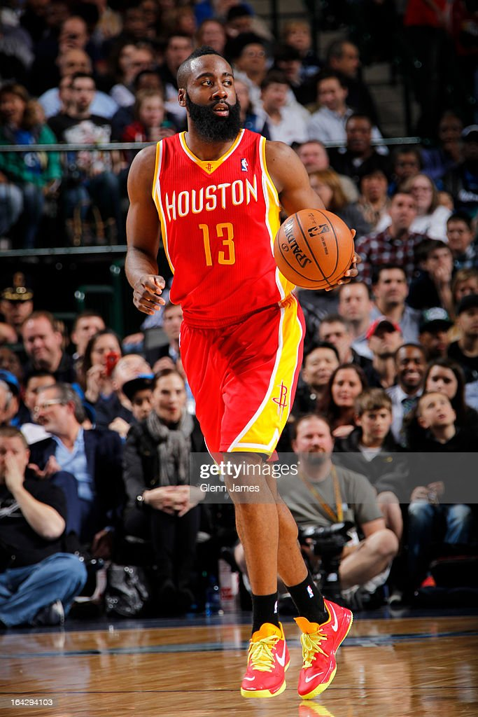 <a gi-track='captionPersonalityLinkClicked' href=/galleries/search?phrase=James+Harden&family=editorial&specificpeople=4215938 ng-click='$event.stopPropagation()'>James Harden</a> #13 of the Houston Rockets brings the ball up court against the Dallas Mavericks on March 6, 2013 at the American Airlines Center in Dallas, Texas.
