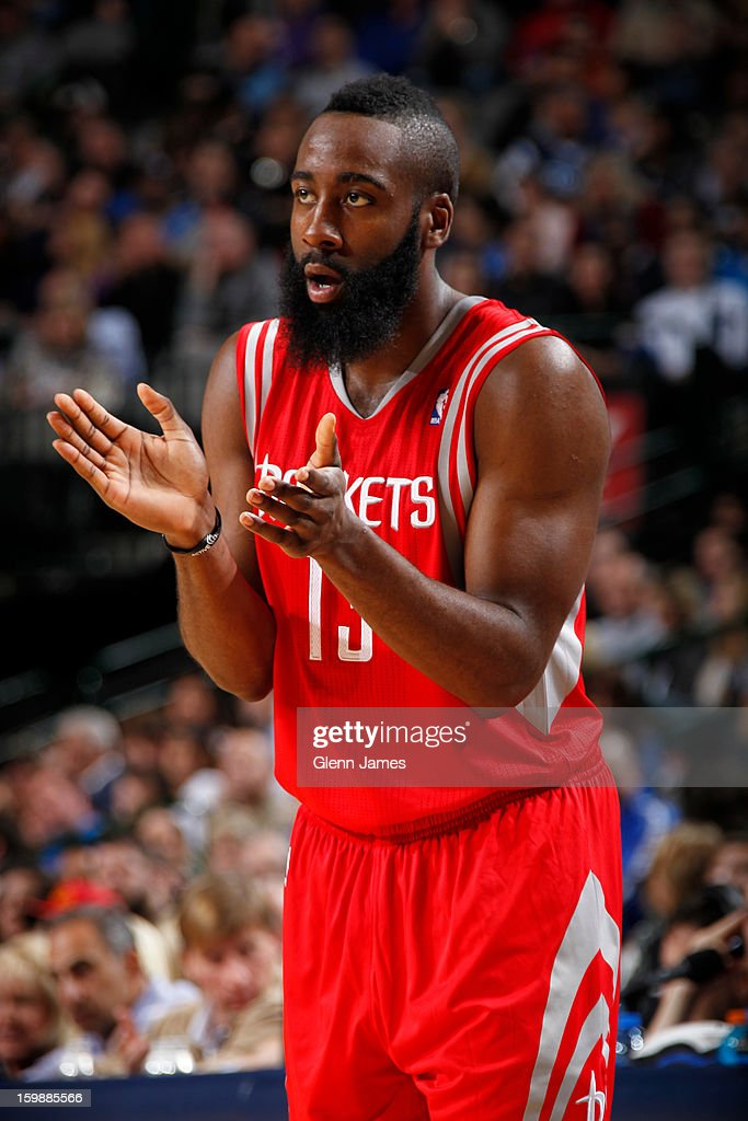 <a gi-track='captionPersonalityLinkClicked' href=/galleries/search?phrase=James+Harden&family=editorial&specificpeople=4215938 ng-click='$event.stopPropagation()'>James Harden</a> #13 of the Houston Rockets calls a play against the Dallas Mavericks on January 16, 2013 at the American Airlines Center in Dallas, Texas.