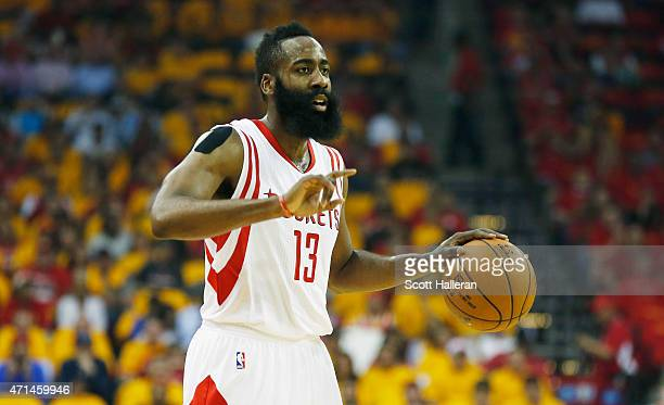 James Harden of the Houston Rockets calls a play against the Dallas Mavericks during Game Five in the Western Conference Quarterfinals of the 2015...