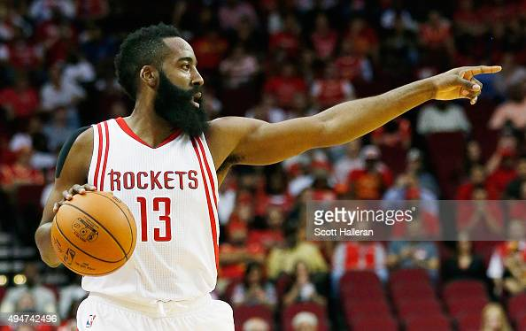 James Harden of the Houston Rockets calls a play during their game against the Denver Nuggets at the Toyota Center on October 28 2015 in Houston Texas