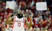 James Harden of the Houston Rockets celebrates a late basket against the Dallas Mavericks during Game Five in the Western Conference Quarterfinals of...