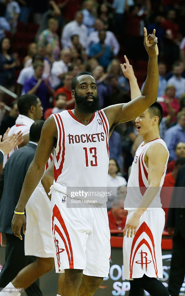 <a gi-track='captionPersonalityLinkClicked' href=/galleries/search?phrase=James+Harden&family=editorial&specificpeople=4215938 ng-click='$event.stopPropagation()'>James Harden</a> #13 of the Houston Rockets celebrates a shot at the buzzer with <a gi-track='captionPersonalityLinkClicked' href=/galleries/search?phrase=Jeremy+Lin&family=editorial&specificpeople=6669516 ng-click='$event.stopPropagation()'>Jeremy Lin</a> #7 to defeat the Phoenix Suns 101-98 at the Toyota Center on April 9, 2013 in Houston, Texas.
