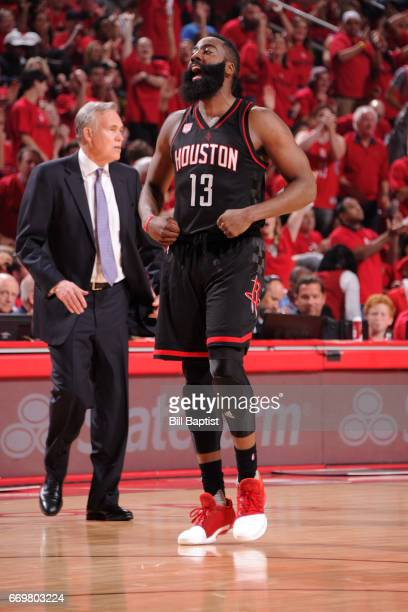 James Harden of the Houston Rockets celebrates a three point basket during the Western Conference Quarterfinals game against the Oklahoma City...