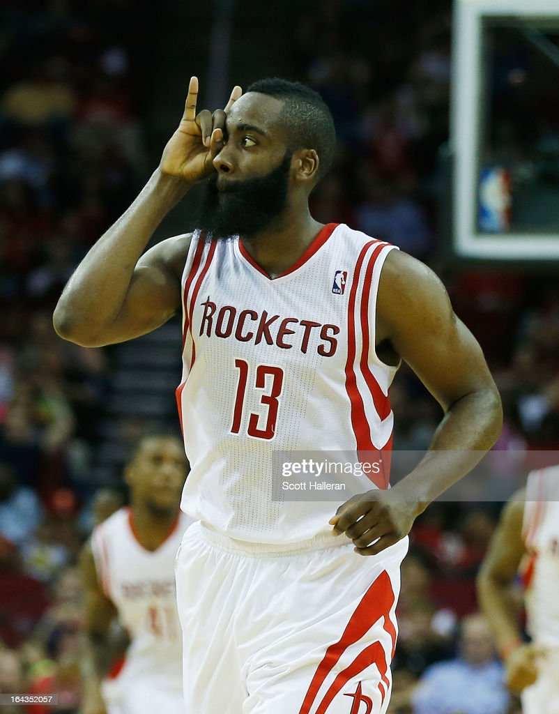 <a gi-track='captionPersonalityLinkClicked' href=/galleries/search?phrase=James+Harden&family=editorial&specificpeople=4215938 ng-click='$event.stopPropagation()'>James Harden</a> #13 of the Houston Rockets celebrates a three pointer during the game against the Cleveland Cavaliers at Toyota Center on March 22, 2013 in Houston, Texas.