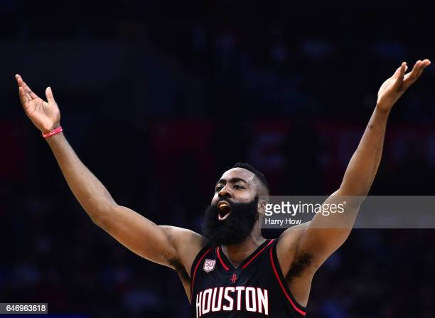 James Harden of the Houston Rockets celebrates a three pointer during a 122103 win over the LA Clippers at Staples Center on March 1 2017 in Los...