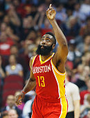 HOUSTON TX DECEMBER18 James Harden of the Houston Rockets celebrates a threepoint shot during their game against the New Orleans Pelicans at the...