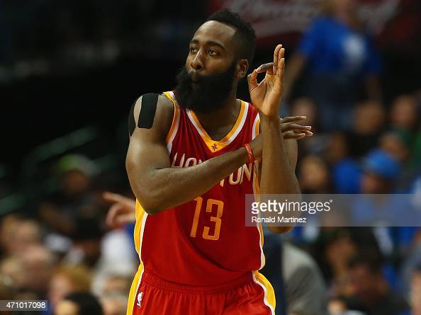 James Harden of the Houston Rockets celebrates a threepoint shot against the Dallas Mavericks during Game Three of the Western Conference...