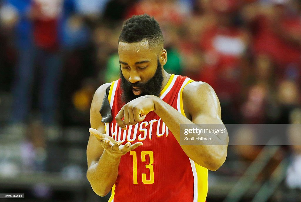 <a gi-track='captionPersonalityLinkClicked' href=/galleries/search?phrase=James+Harden&family=editorial&specificpeople=4215938 ng-click='$event.stopPropagation()'>James Harden</a> #13 of the Houston Rockets celebrates after a three-point shot on the court during their game against the Denver Nuggets at the Toyota Center on March 19, 2015 in Houston, Texas.