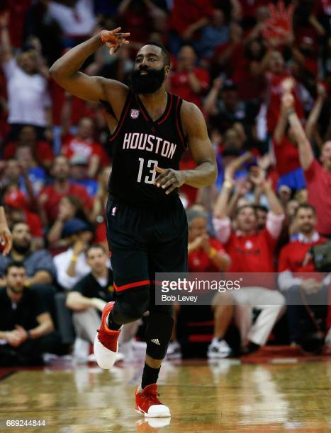 James Harden of the Houston Rockets celebrates after a threepoint shot during the fourth quarter against the Oklahoma City Thunder during Game One of...