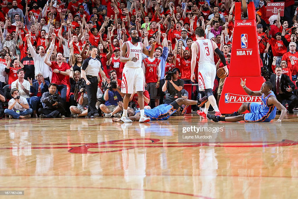 <a gi-track='captionPersonalityLinkClicked' href=/galleries/search?phrase=James+Harden&family=editorial&specificpeople=4215938 ng-click='$event.stopPropagation()'>James Harden</a> #13 of the Houston Rockets celebrates after his team's victory against the Oklahoma City Thunder in Game Four of the Western Conference Quarterfinals during the 2013 NBA Playoffs on April 29, 2013 at the Toyota Center in Houston, Texas.