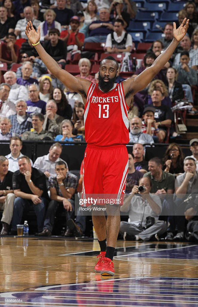 James Harden #13 of the Houston Rockets celebrates against the Sacramento Kings on April 3, 2013 at Sleep Train Arena in Sacramento, California.