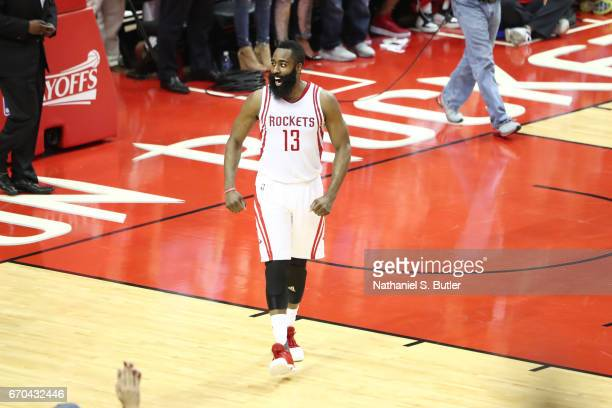 James Harden of the Houston Rockets celebrates during Game Two of the Western Conference Quarterfinals of the 2017 NBA Playoffs on April 19 2017 at...