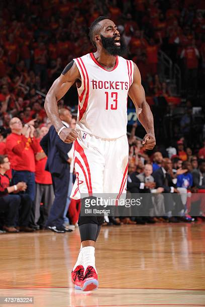 James Harden of the Houston Rockets celebrates during the game against the Los Angeles Clippers in Game Seven of the Western Conference Semifinals...