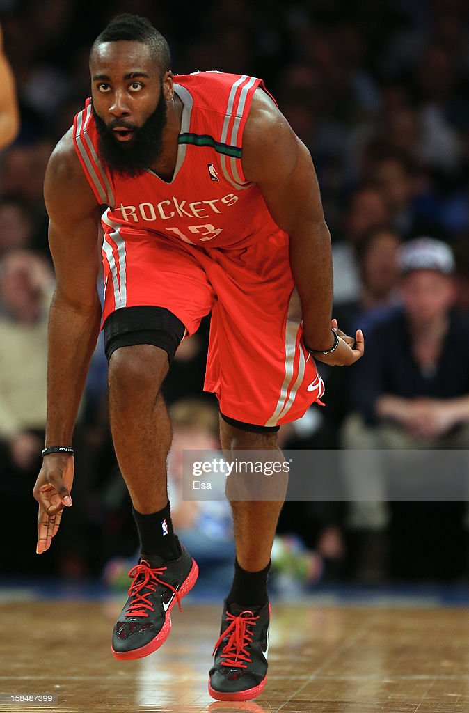 James Harden #13 of the Houston Rockets celebrates his three point shot in the second half against the New York Knicks on December 17, 2012 at Madison Square Garden in New York City. The Houston Rockets defeated the New York Knicks 109-96.