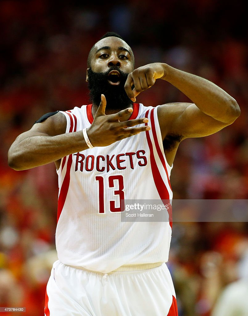 <a gi-track='captionPersonalityLinkClicked' href=/galleries/search?phrase=James+Harden&family=editorial&specificpeople=4215938 ng-click='$event.stopPropagation()'>James Harden</a> #13 of the Houston Rockets celebrates in the fourth quarter against the Los Angeles Clippers during Game Seven of the Western Conference Semifinals at the Toyota Center for the 2015 NBA Playoffs on May 17, 2015 in Houston, Texas.