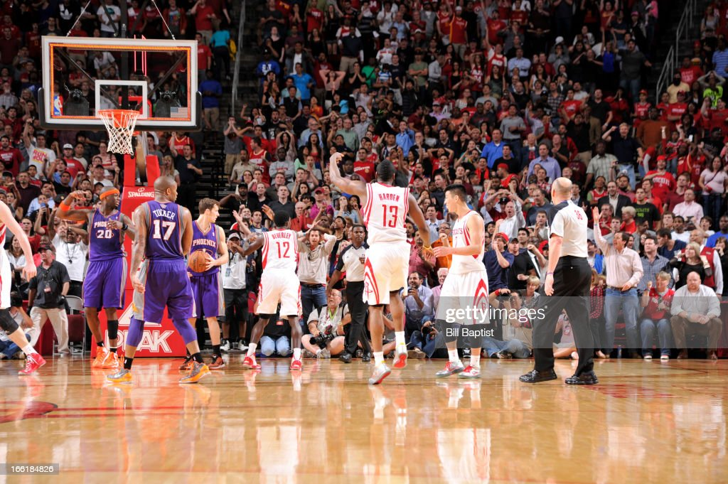 <a gi-track='captionPersonalityLinkClicked' href=/galleries/search?phrase=James+Harden&family=editorial&specificpeople=4215938 ng-click='$event.stopPropagation()'>James Harden</a> #13 of the Houston Rockets celebrates the win against the Phoenix Suns on April 9, 2013 at the Toyota Center in Houston, Texas.