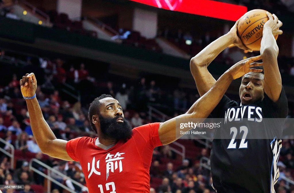 <a gi-track='captionPersonalityLinkClicked' href=/galleries/search?phrase=James+Harden&family=editorial&specificpeople=4215938 ng-click='$event.stopPropagation()'>James Harden</a> #13 of the Houston Rockets defends against <a gi-track='captionPersonalityLinkClicked' href=/galleries/search?phrase=Andrew+Wiggins&family=editorial&specificpeople=7720937 ng-click='$event.stopPropagation()'>Andrew Wiggins</a> #22 of the Minnesota Timberwolves during their game at the Toyota Center on February 23, 2015 in Houston, Texas.